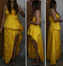Yellow Silk Ensemble of Corsage, Shorts and Asymmetric Wrap Skirt