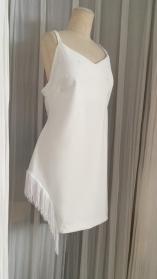 Asymmetric White Stretch Dress with Frill 24.000