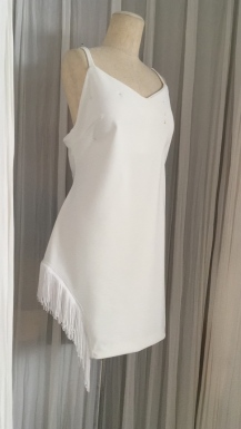 Asymmetric White Stretch Dress with Frill