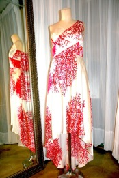 Silk Dress with Bias Cut Asymmetric Skirt and Wrap Top